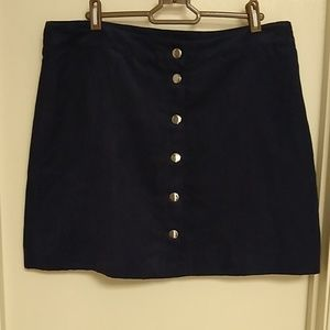 Suede front button navy blue mini skirt H&M